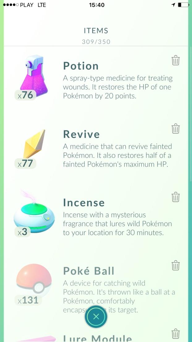 Items - Pokemon Go